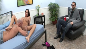 Receiving facial accompanied by busty latina wife Kortney Kane