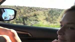 Naughty blonde rides a hard dick outdoors