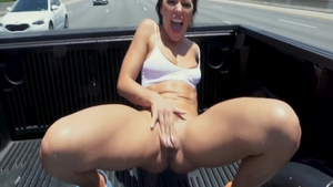 Squirts together with wild pornstar Adriana Chechik outdoors