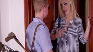 Rough doggy fucks between big tits mature Chad White in office