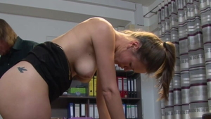 German brunette feels up to ramming hard in tight stockings