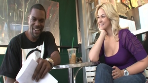 Horny Sarah Vandella interracial pounding in a cafe