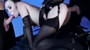 Small tits brunette Tiffany Doll in her lingerie BDSM