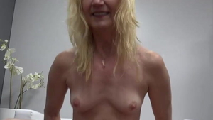 Small tits blonde rough cock sucking at castings in HD
