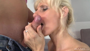 Young saggy tits MILF Nick Gill raw sucking cock in HD