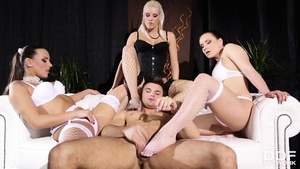 Threesome escorted by charming blonde