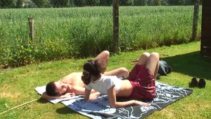 Shaved french brunette ass fingering outdoors
