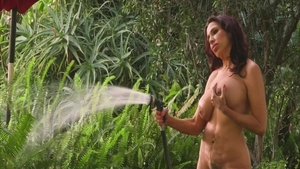 Solo busty and big boobs granny Lisa Marie fingering outdoors