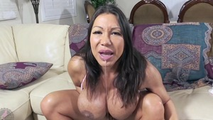 Busty asian mature Ava Devine jumping on cock cum in her pussy