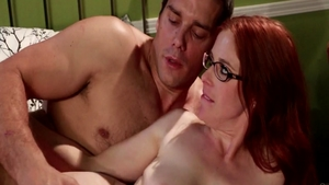 Big tits and wild babe Penny Pax wearing glasses crazy handjob