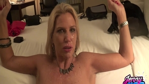 Cumshot along with huge boobs blonde haired