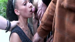 Group sex in public escorted by brunette in fishnets