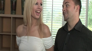 Blonde haired Tara Lynn escorted by Tara Lynn Foxx handjob