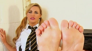 Kinky girl in socks reality laughing spanking in office HD