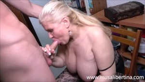 Real fucking in company with big boobs stepmom
