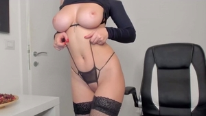 Solo natural redhead smoking in sexy lingerie