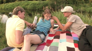 Very cute and young Beata Undine flashing outdoors