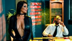 Pornstar Romi Rain wearing latex roleplay on sofa