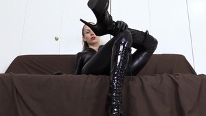 Fun with toys together with goddess wearing latex