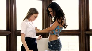 Lesbo Aubrey Star riding a dick in office