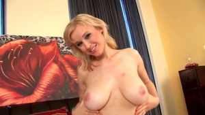 Solo shaved and large tits female masturbating
