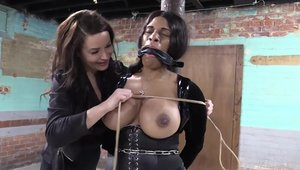 BDSM along with large tits ebony stepmom in latex