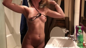 Big tits babe fantasy stripteasing on webcam
